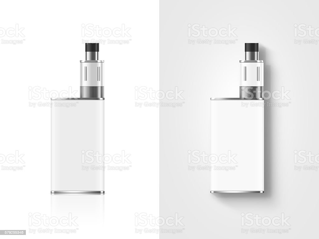 Blank white vape mod box mockup isolated, clipping path, stand stock photo