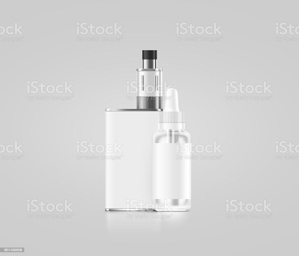 Blank white vape mod box with juice bottle mockup isolated, stock photo