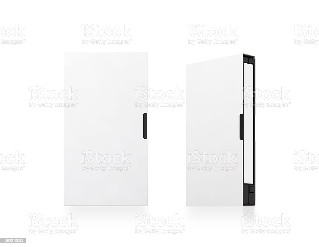 Blank white video cassette tape box mockup, isolated, clipping path. stock photo