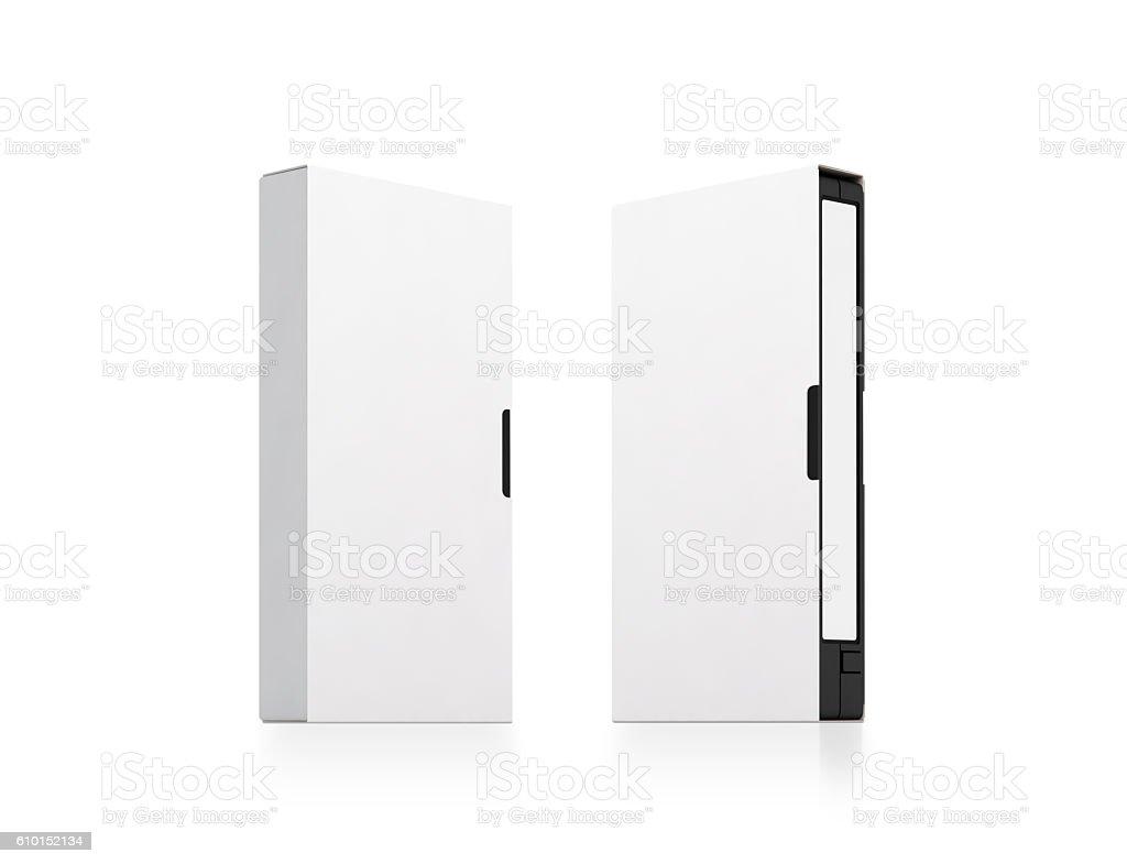 Blank white video cassette tape box mockup set, isolated stock photo