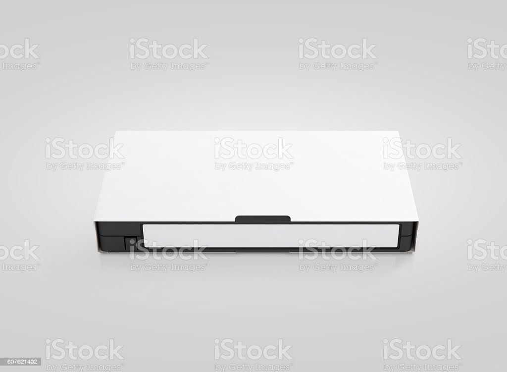 Blank white video cassette tape mockup, isolated, front view, stock photo