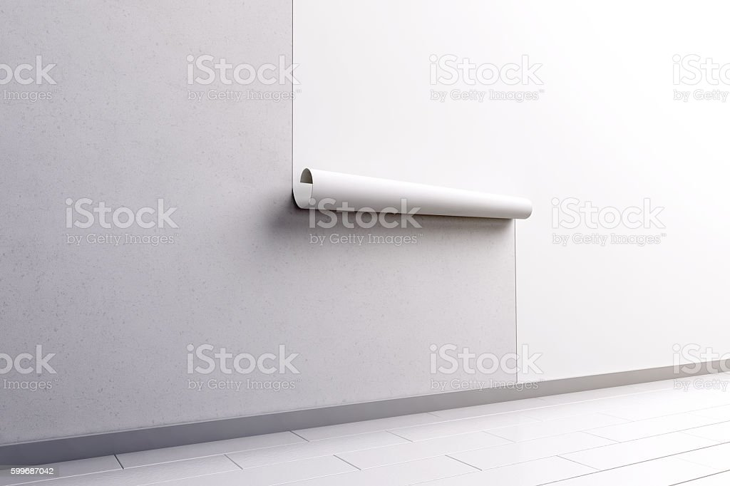 Blank white wallpaper hanging on wall mock up, side view stock photo