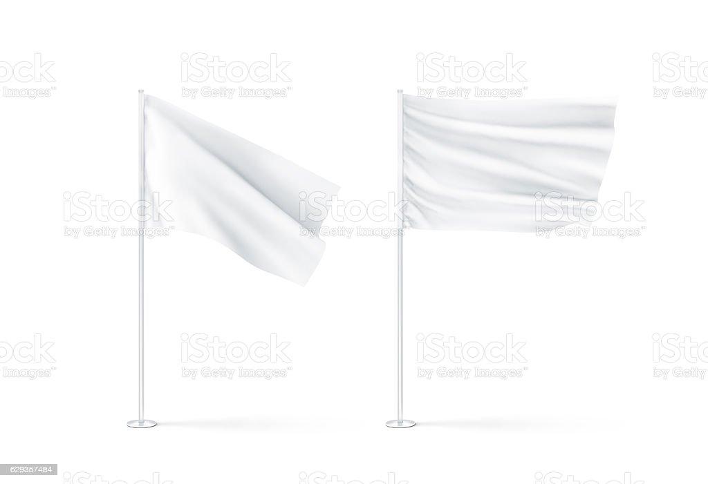 Blank white waving flags mockup stock photo