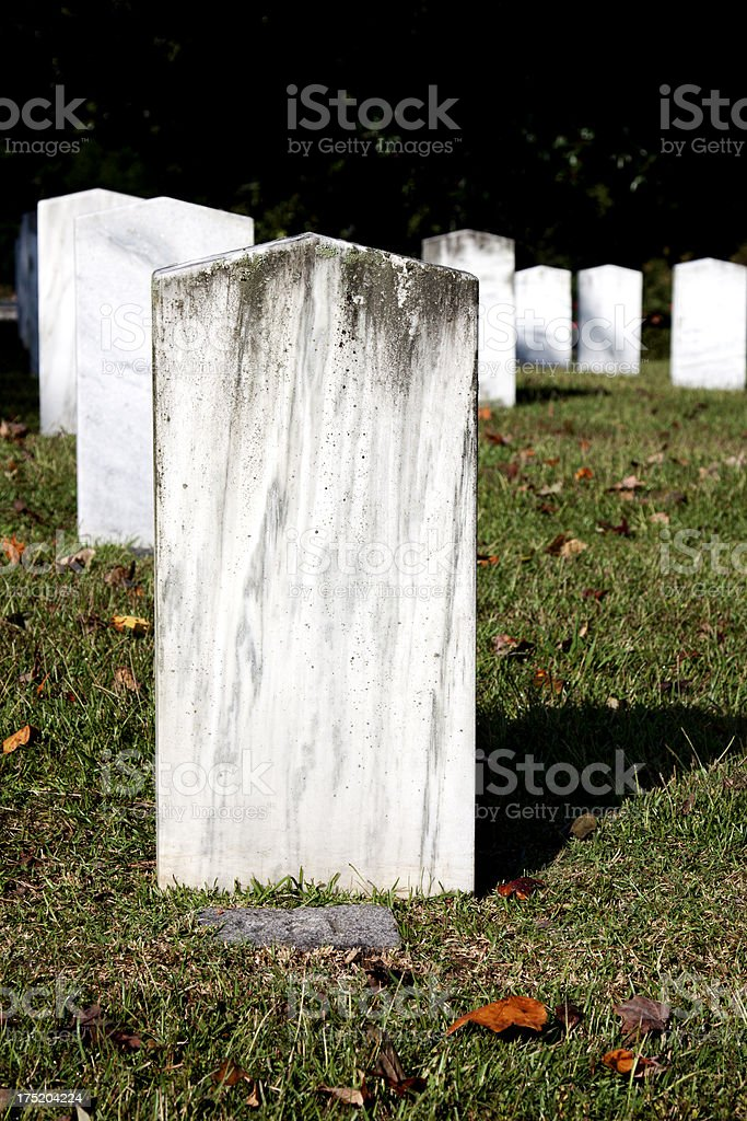 Blank White Weathered Headstone royalty-free stock photo