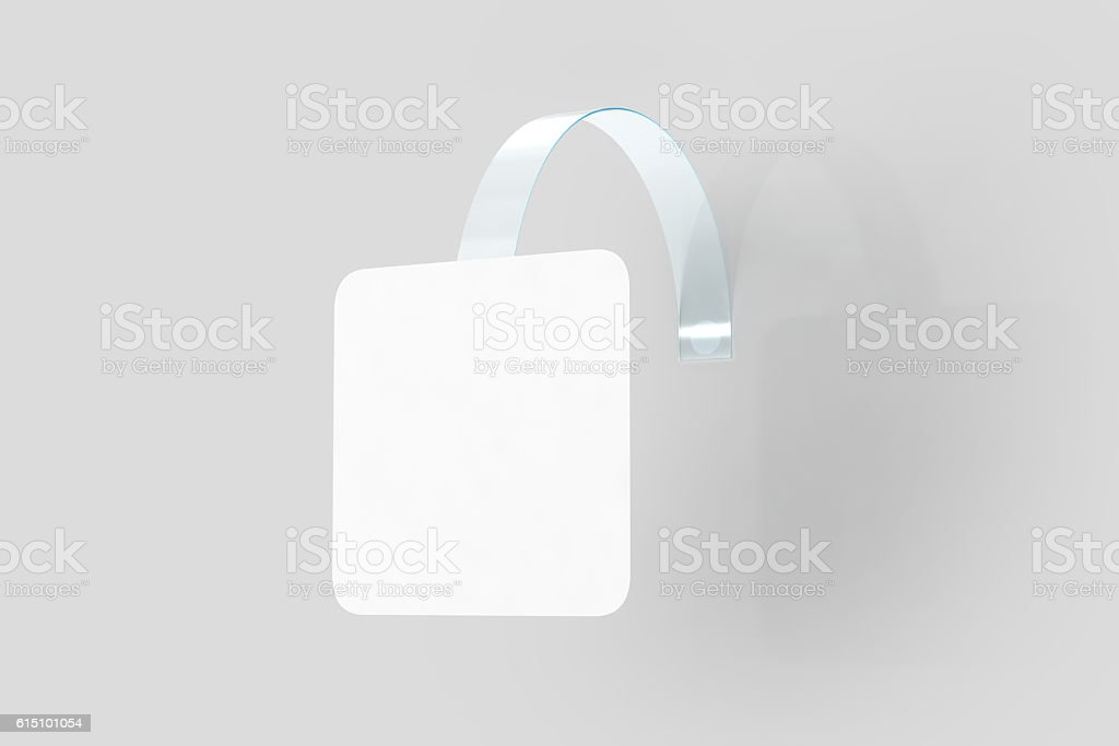 Blank white wobbler hang on wall mock up, clipping path stock photo