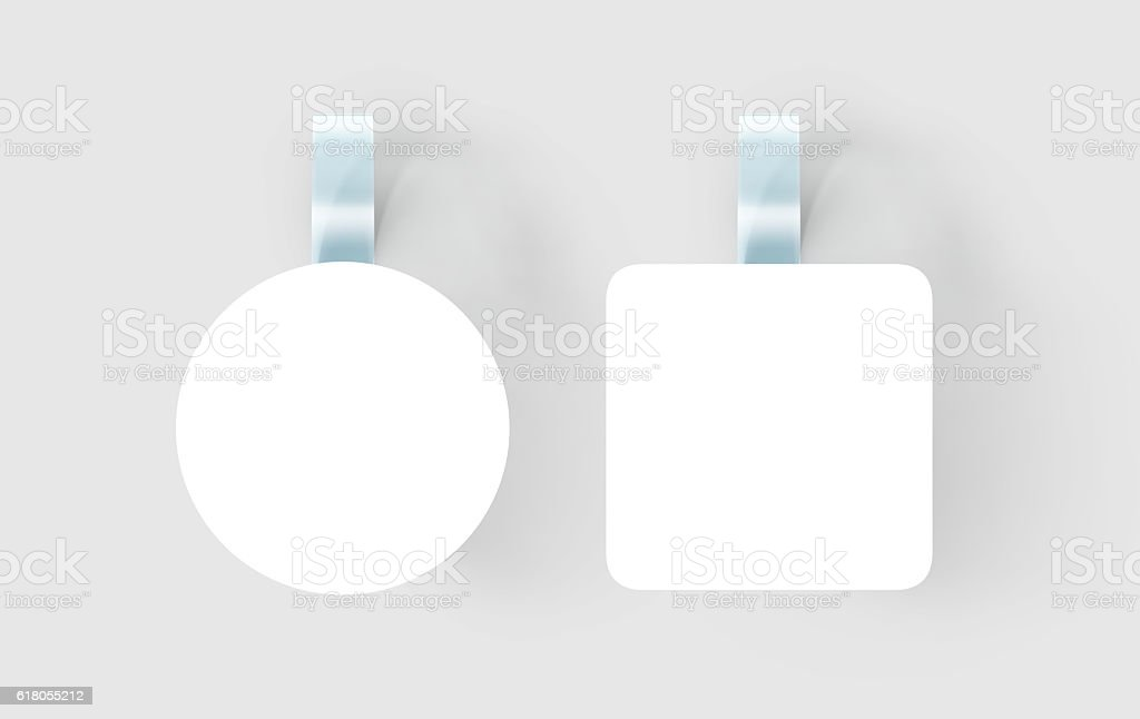 Blank white wobbler hanging on wall mock up, clipping path stock photo