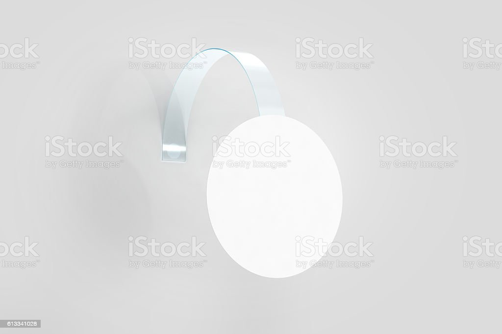 Blank white wobbler hanging on wall mockup, clipping path stock photo