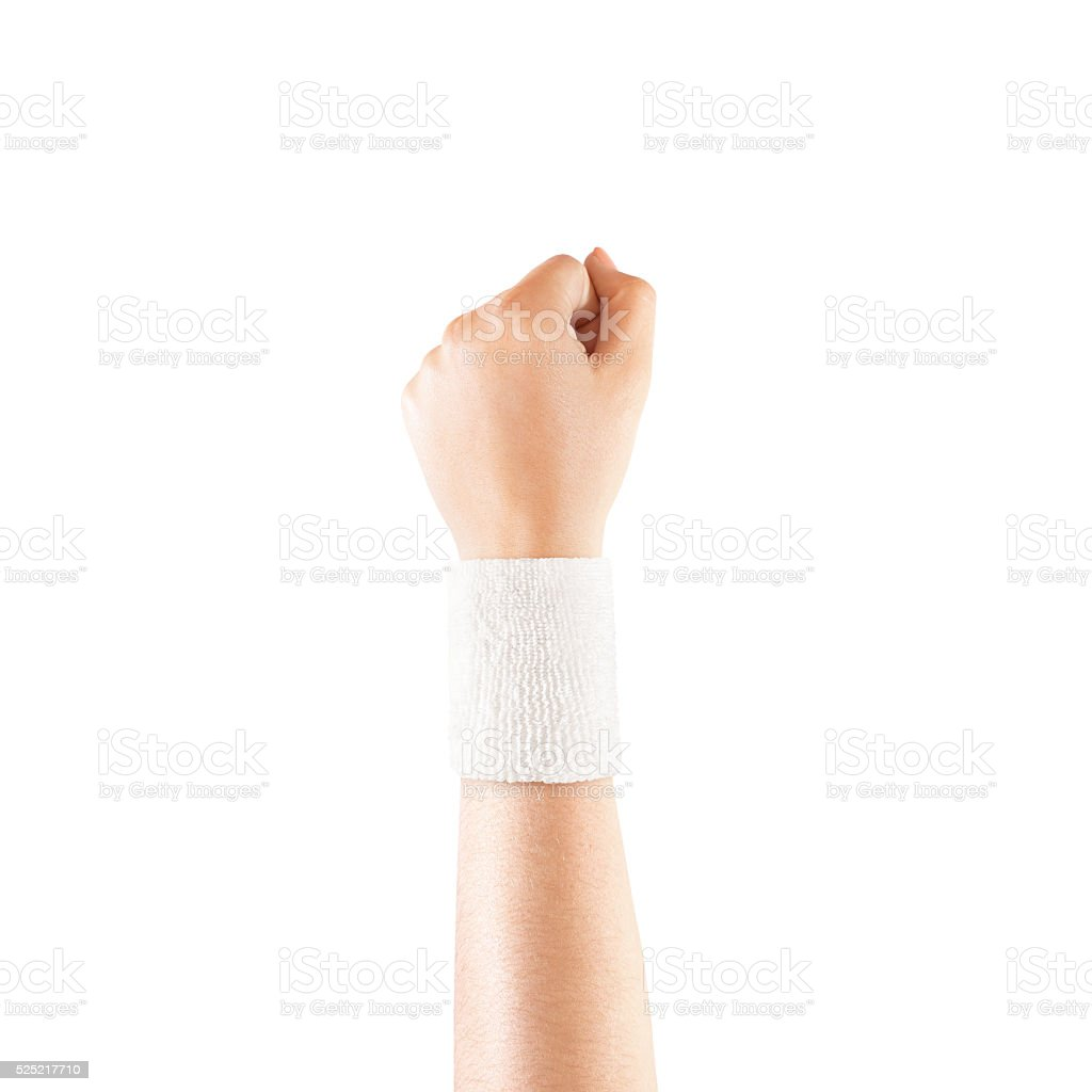 Blank white wristband mockup on hand, isolated stock photo