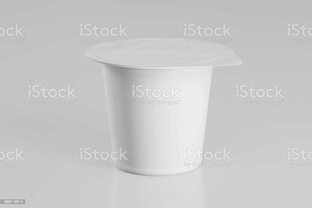 Blank yogurt packaging. Mockup dessert plastic container isolated on...