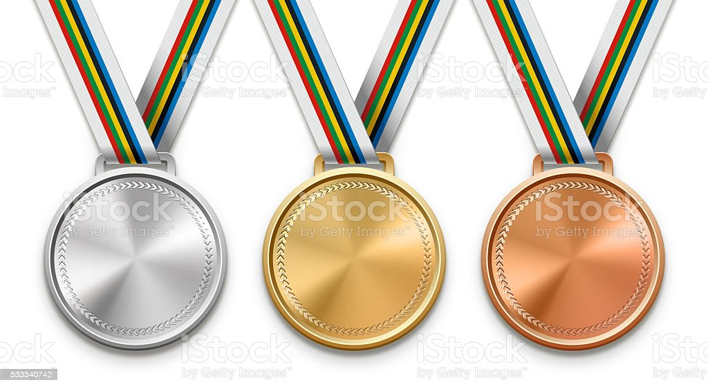 Blank Winning Medals stock photo