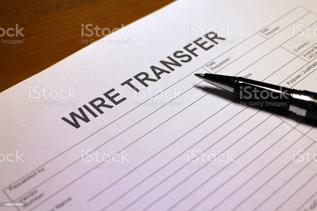 Blank Wire Transfer Form stock photo
