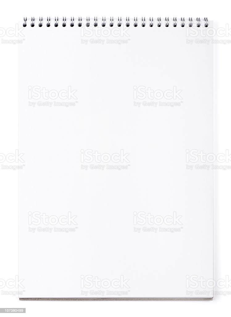 Blank wirebound notepad on white, clipping path royalty-free stock photo