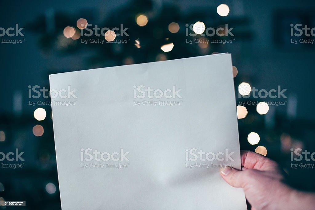 Blank wishing list for christmas stock photo
