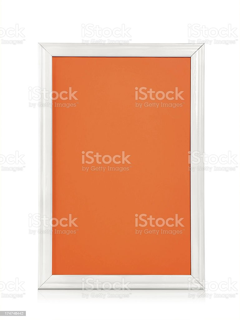 Blank wood picture frame stock photo