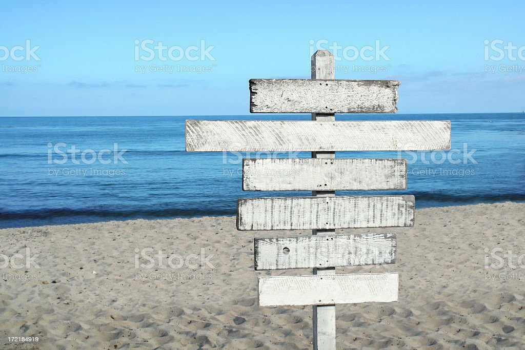 Blank wood sign at the beach stock photo