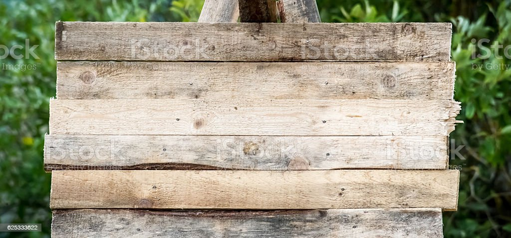 blank wood sign background. rough planks with nails, texture stock photo