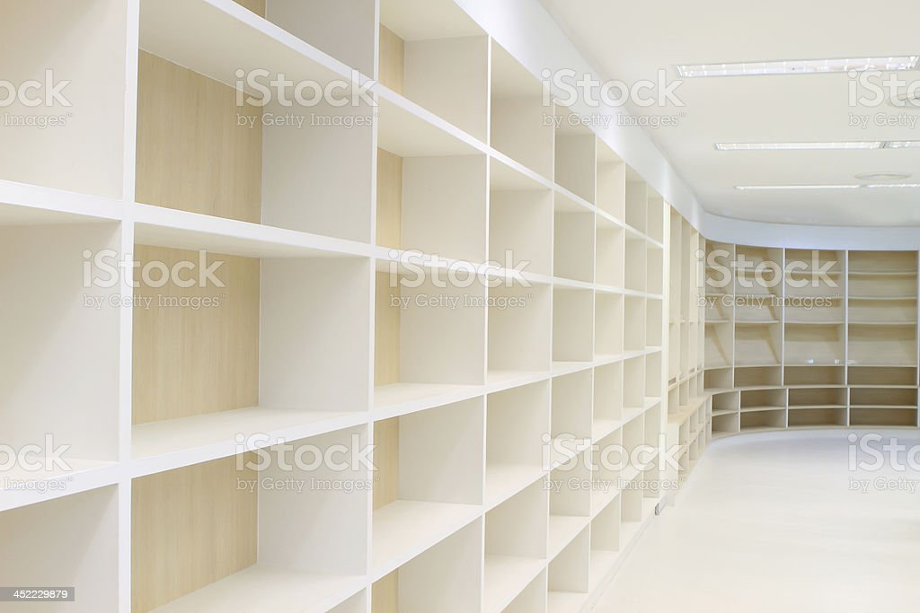 Blank wooden bookshelf royalty-free stock photo