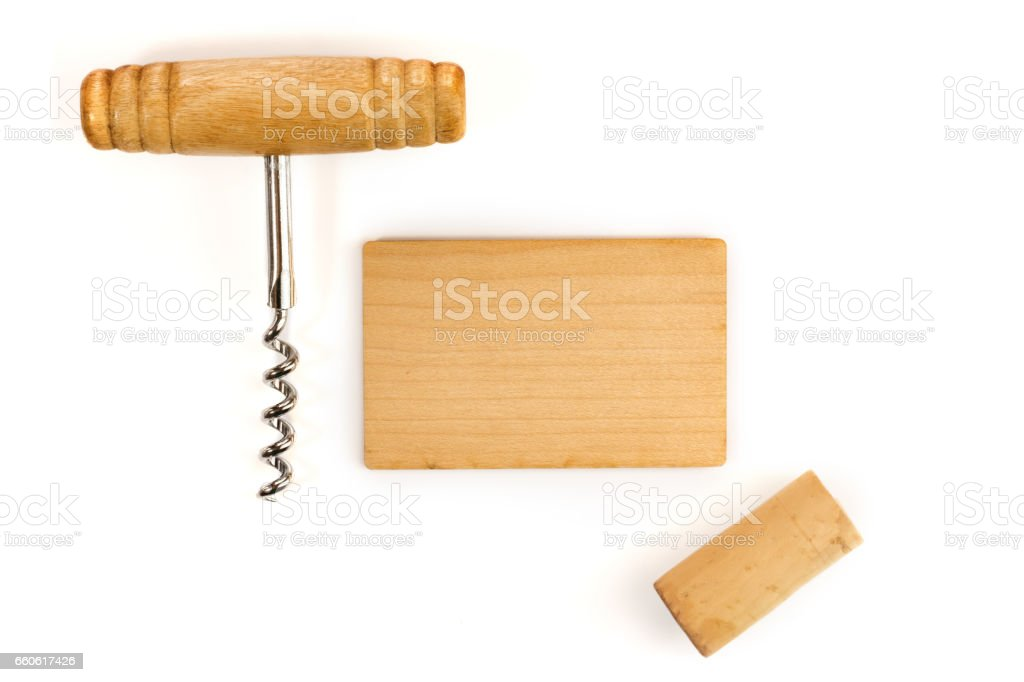 blank wooden business card with corkscrew and cork stock photo