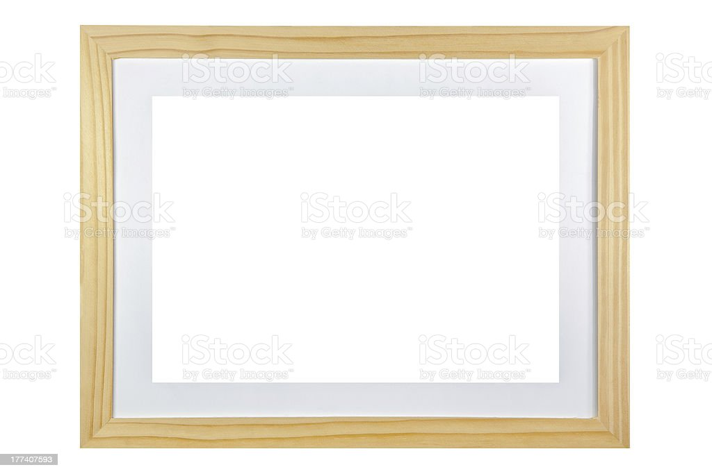 blank wooden frame isolated on white background stock photo