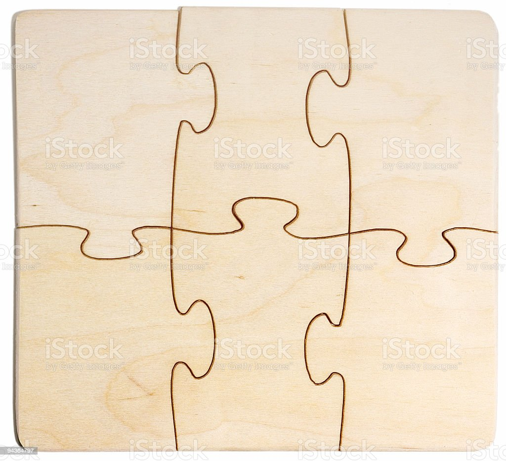 blank wooden puzzle royalty-free stock photo