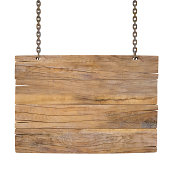 Blank wooden sign hanging on chains