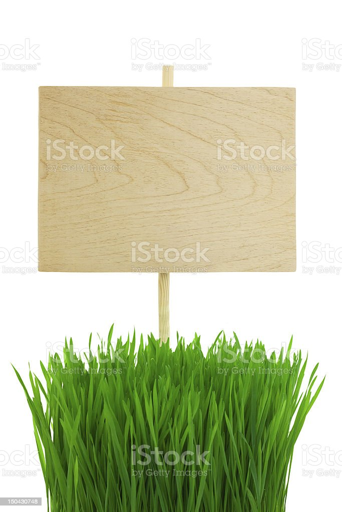 Blank wooden Sign with green Grass / isolated royalty-free stock photo