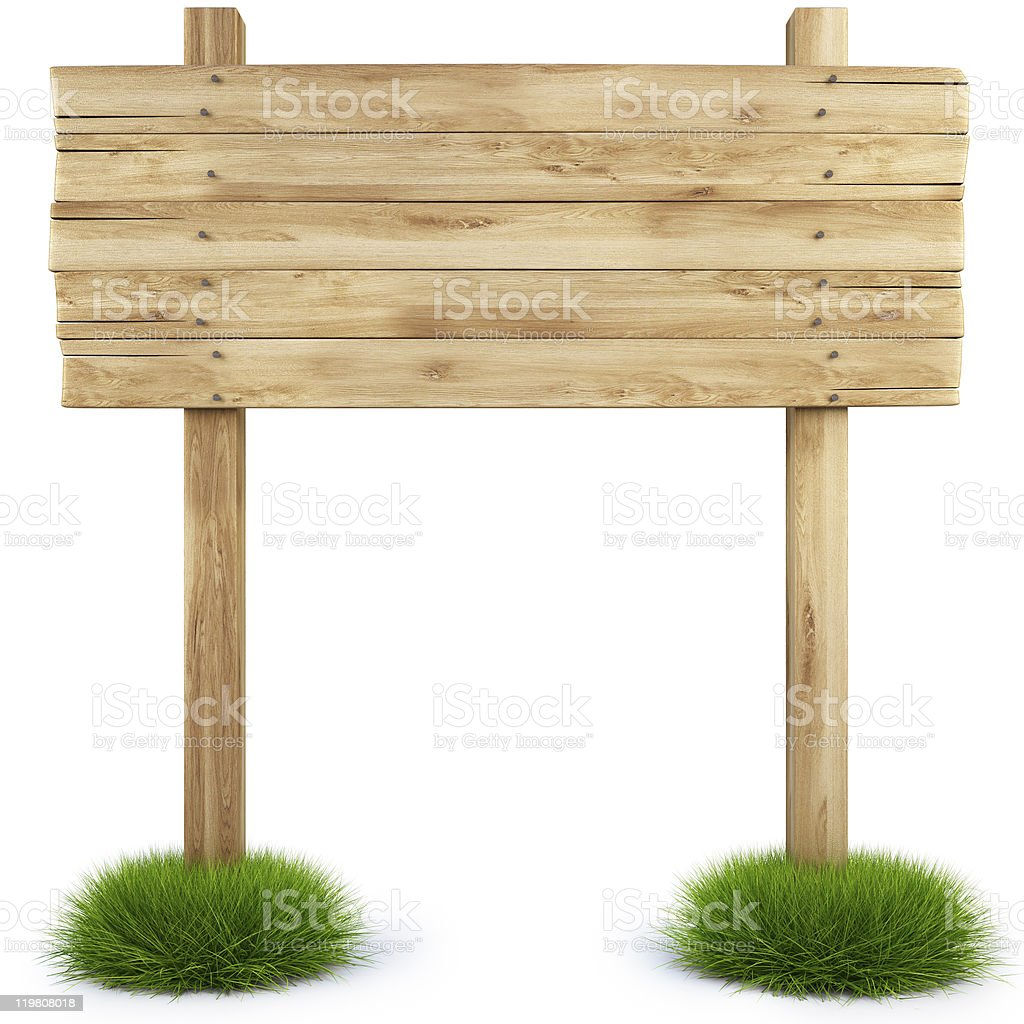 Blank wooden signpost in tufts of grass on white background royalty-free stock photo