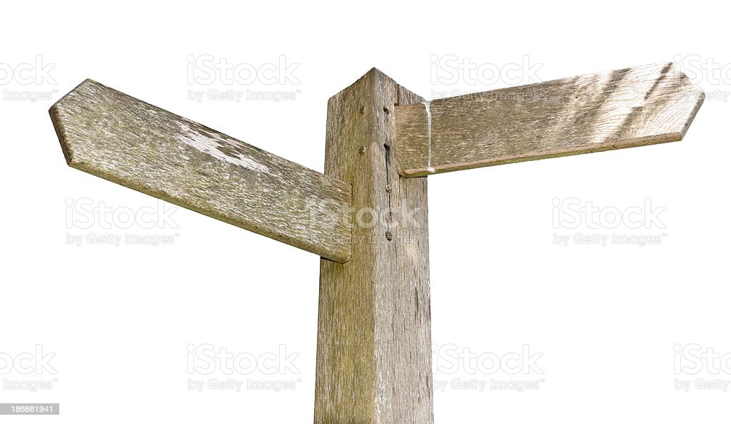 Blank Wooden Signpost Isolated On White stock photo