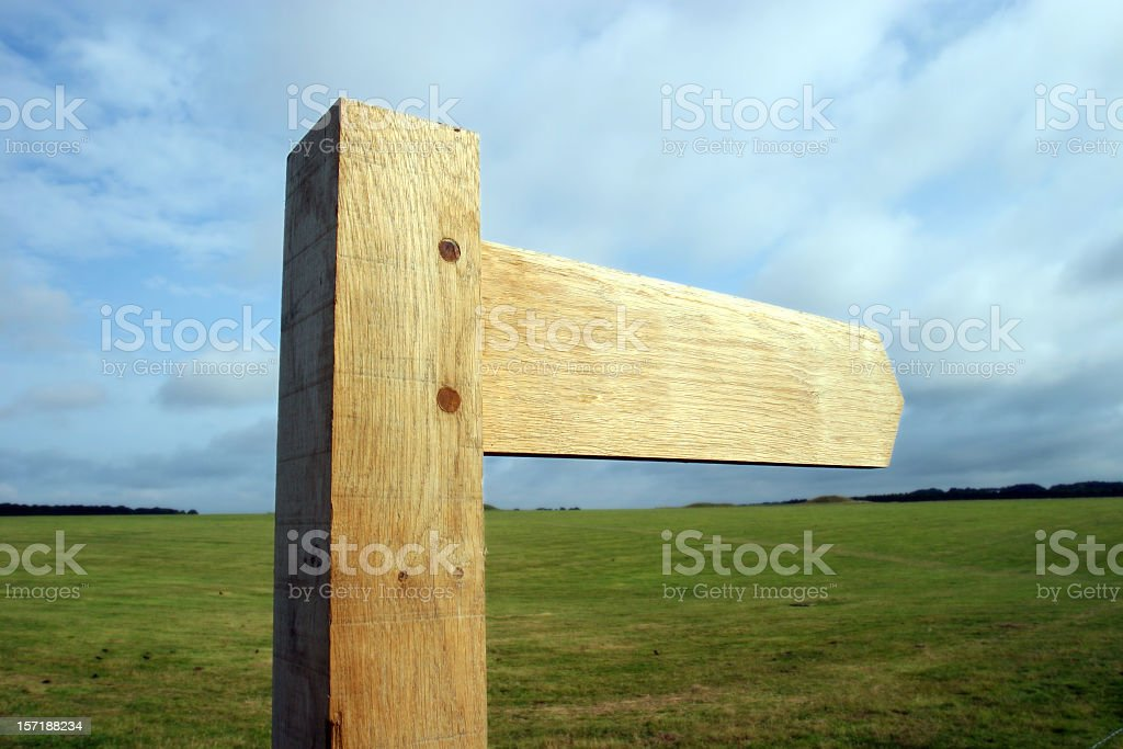 Blank wooden signpost royalty-free stock photo
