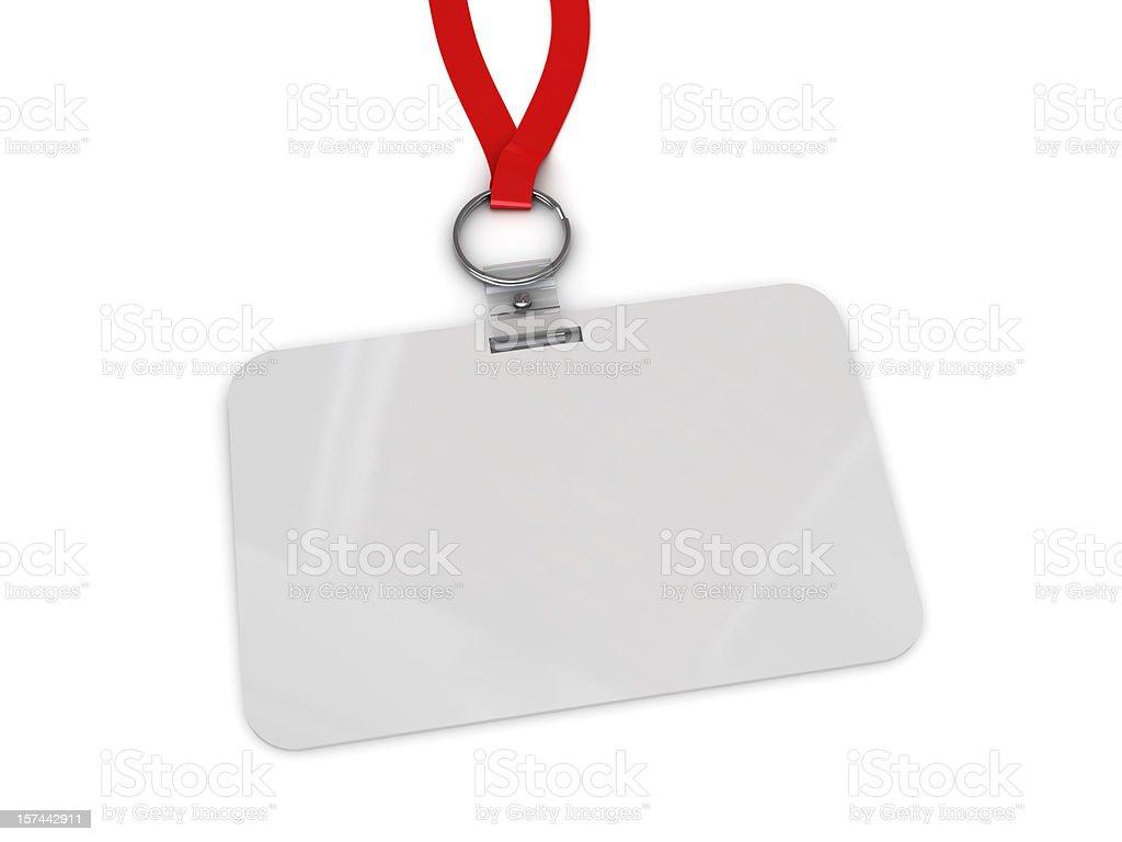 Blank work badge hanging from red lanyard royalty-free stock photo