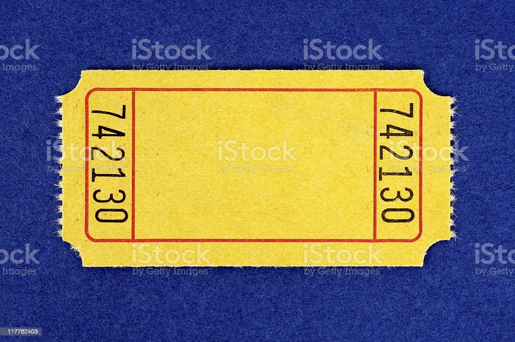 Blank yellow admission ticket stock photo