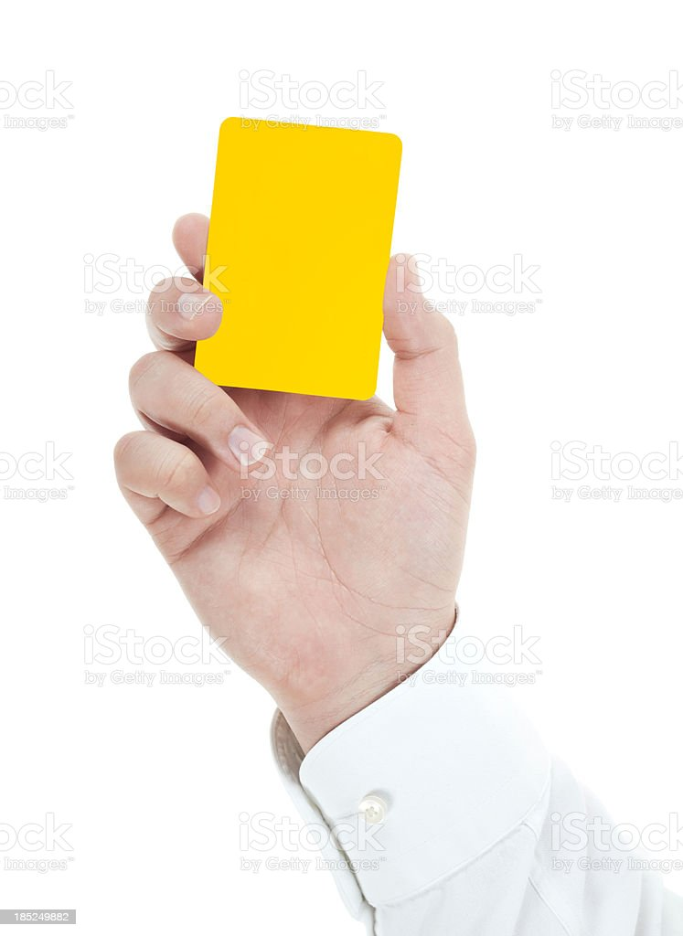 Blank yellow card in male hand on white stock photo