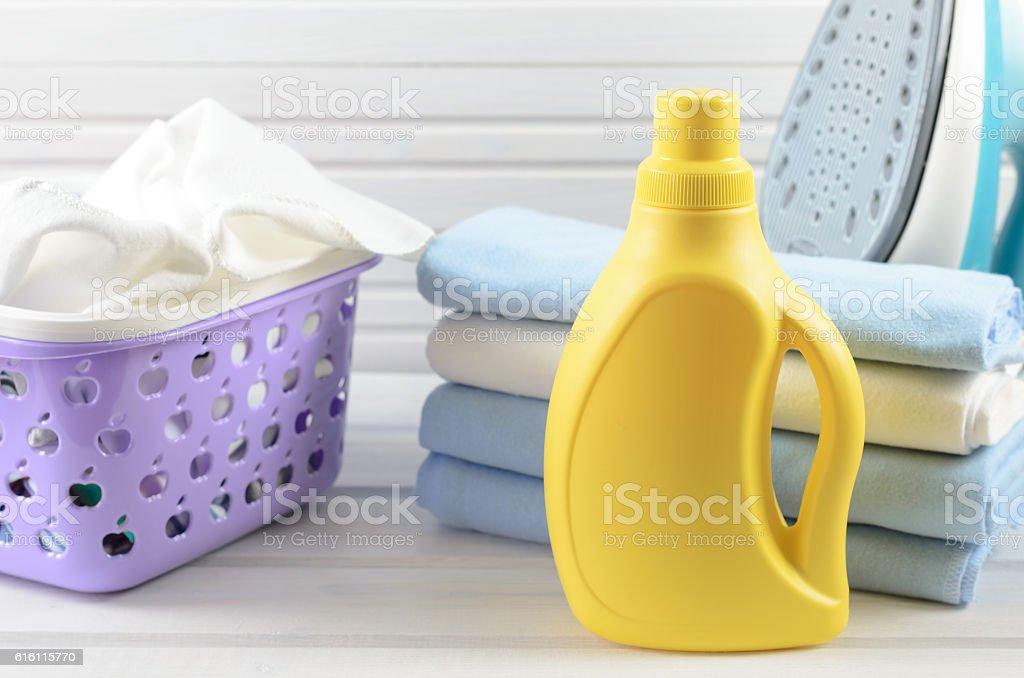 blank yellow detergent bottle stock photo