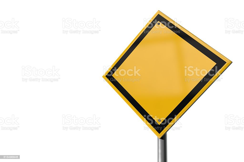 Blank yellow highway road sign stock photo