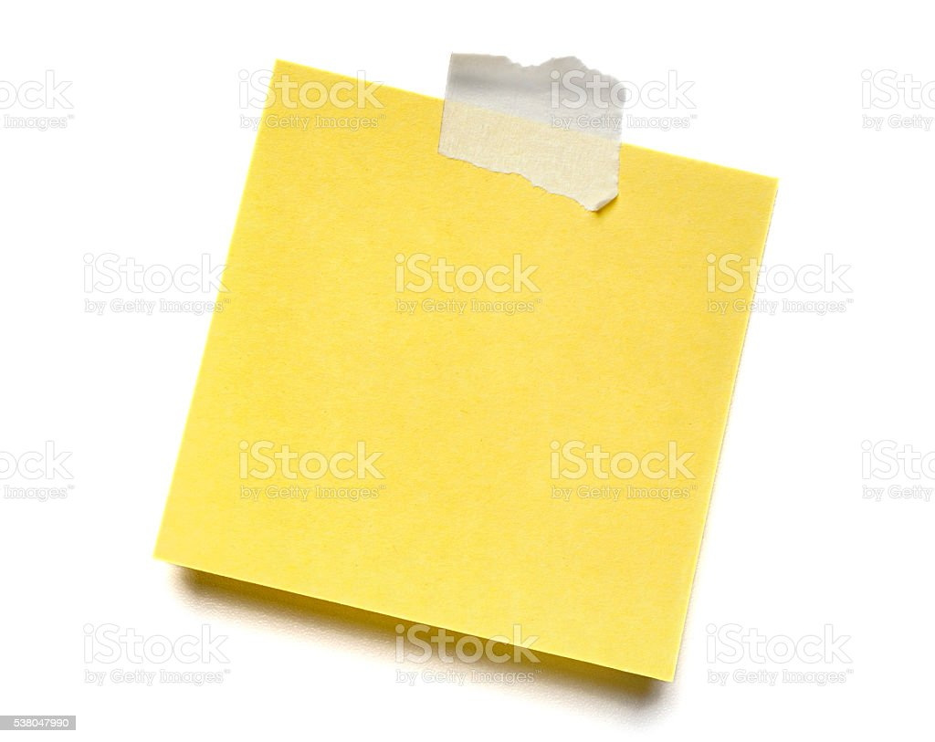 Blank yellow isolated adhesive Post-it note stock photo