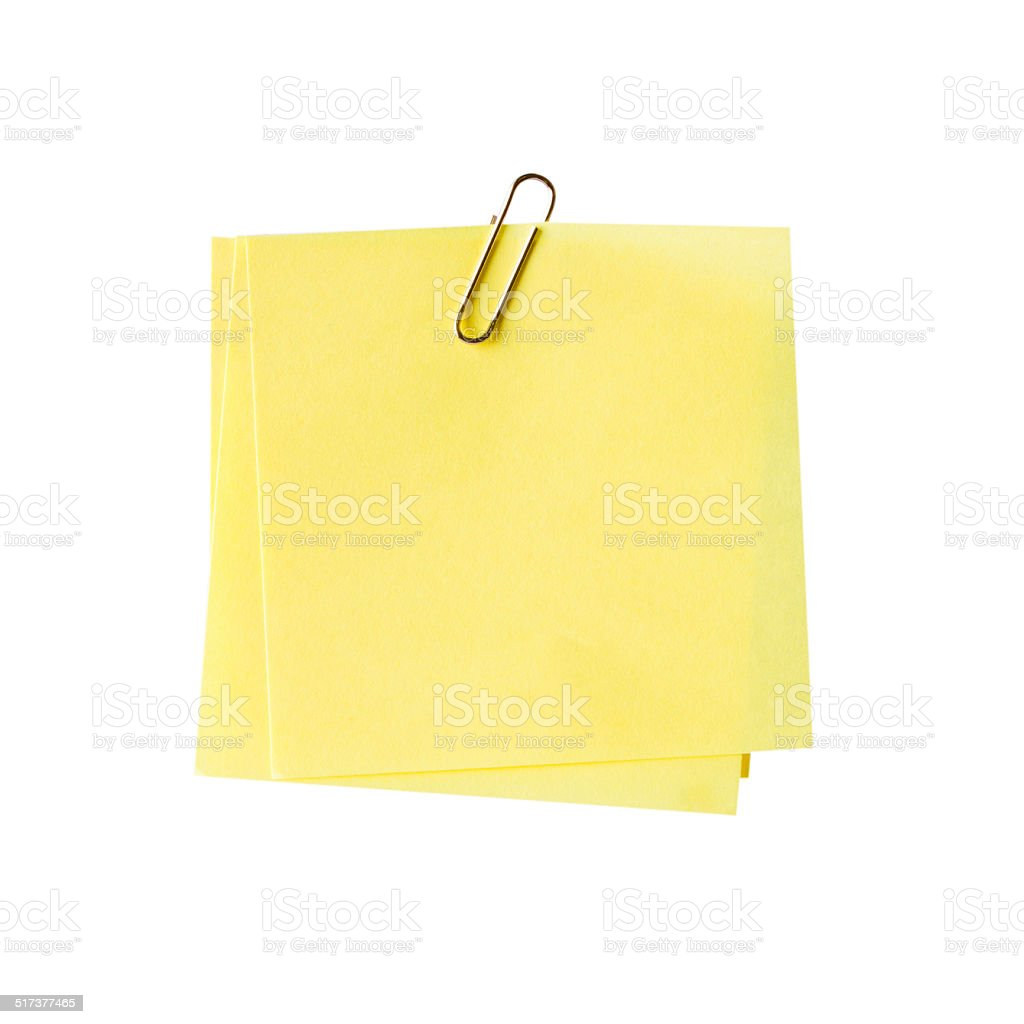 blank yellow note and clip on isolated white stock photo
