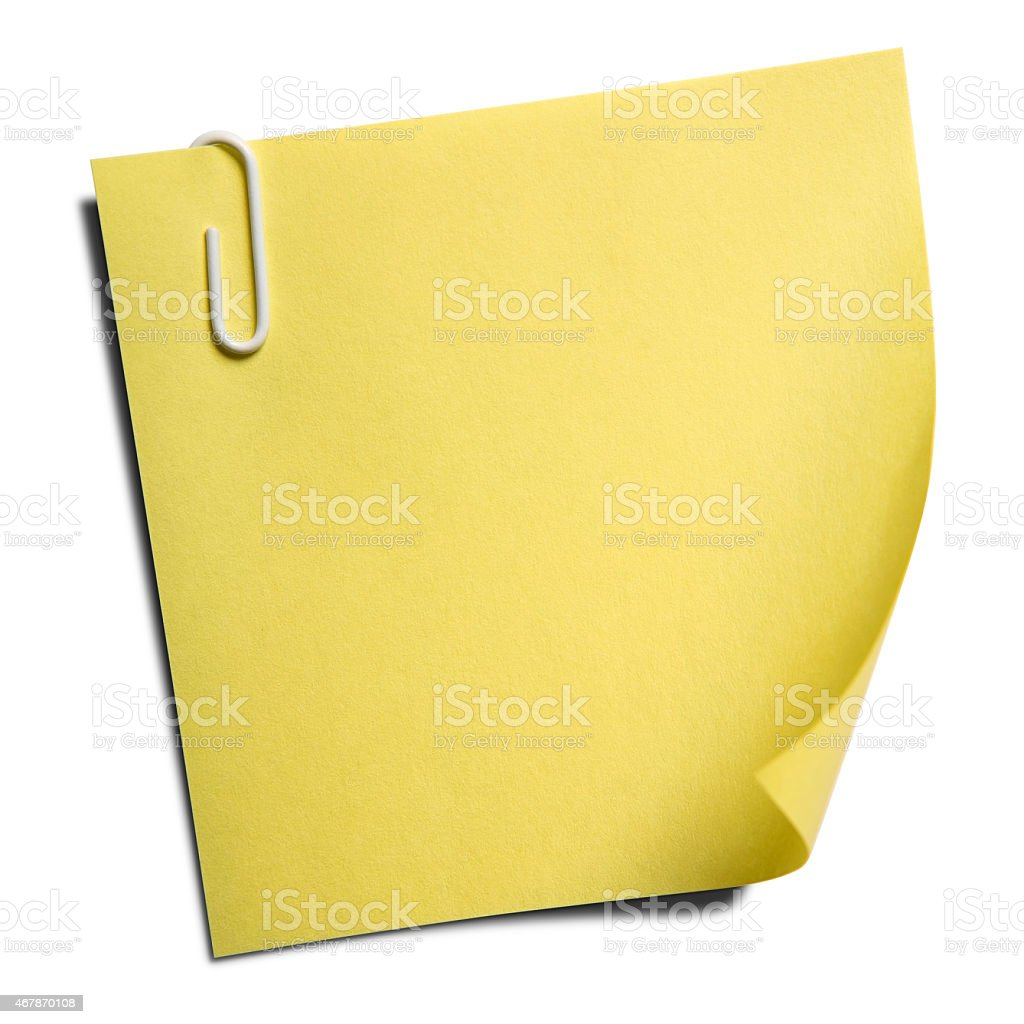Blank yellow note isolated on white with clipping path stock photo