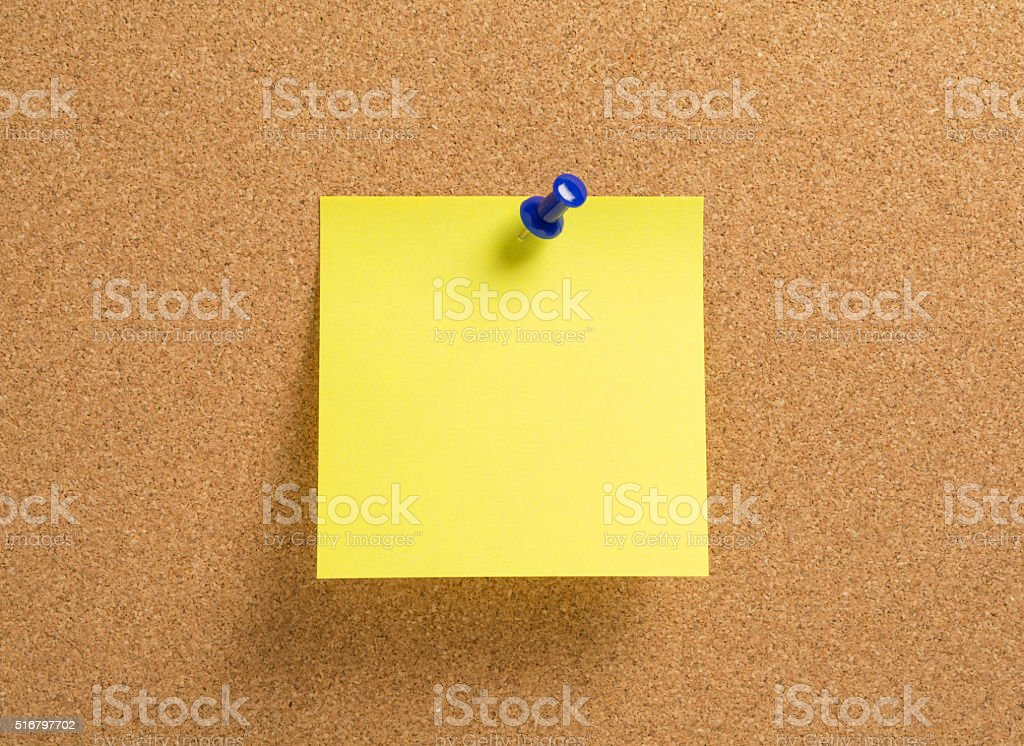 Blank yellow notepaper stock photo
