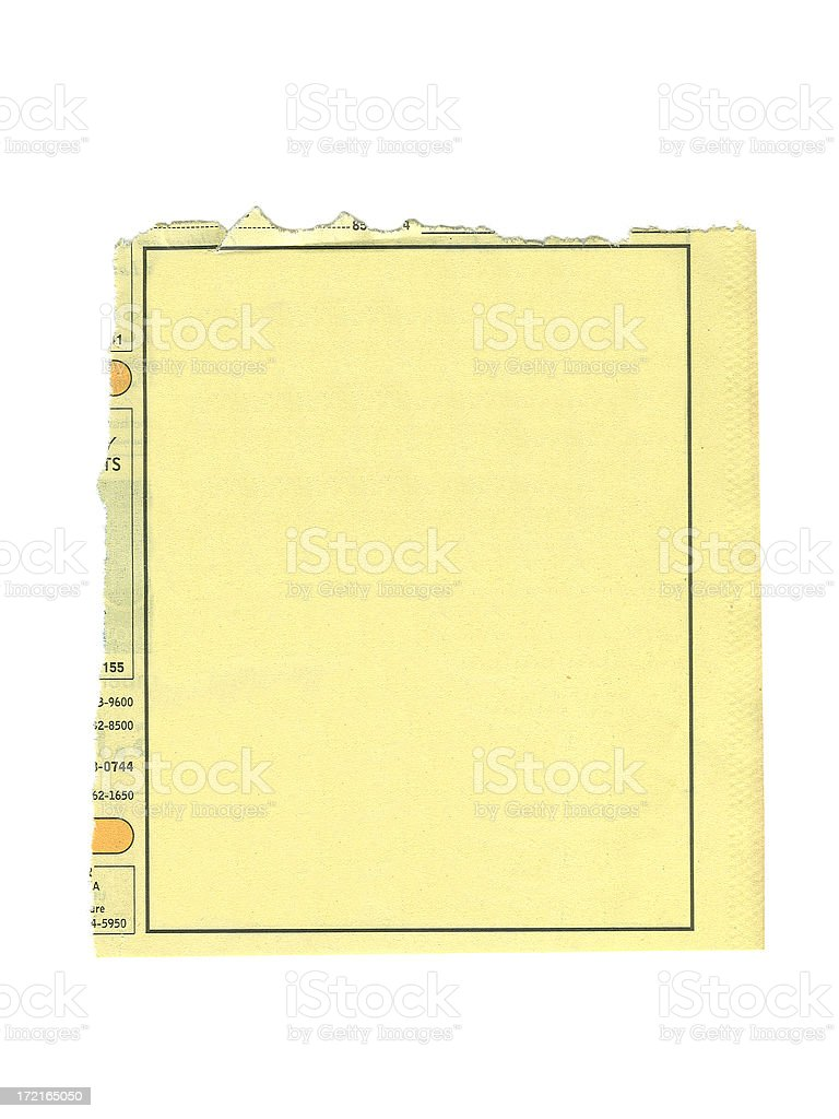Blank Yellow Pages Ad stock photo
