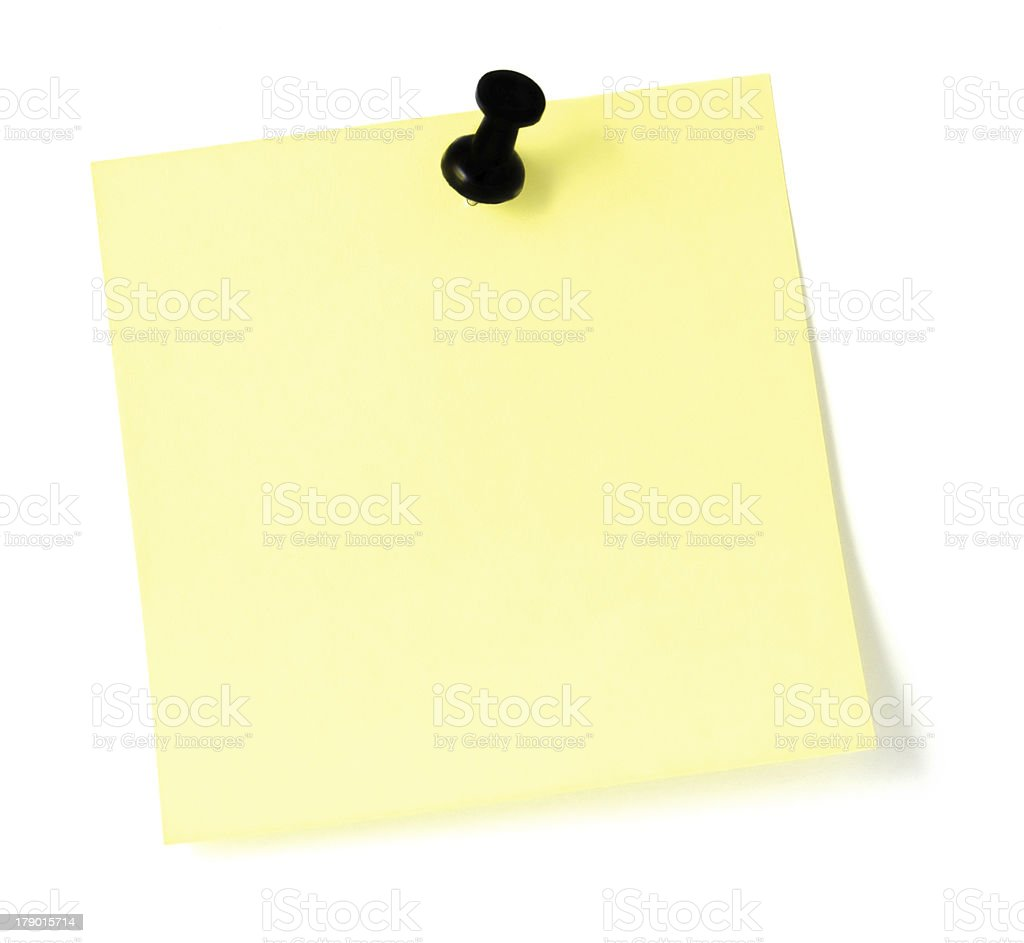 Blank Yellow Post-It Style to-do List black push pin isolated royalty-free stock photo