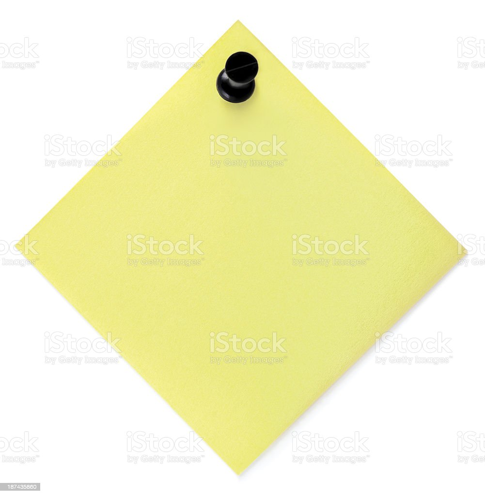Blank Yellow Post-It To-Do List Sticky Note Black Pushpin Isolated stock photo
