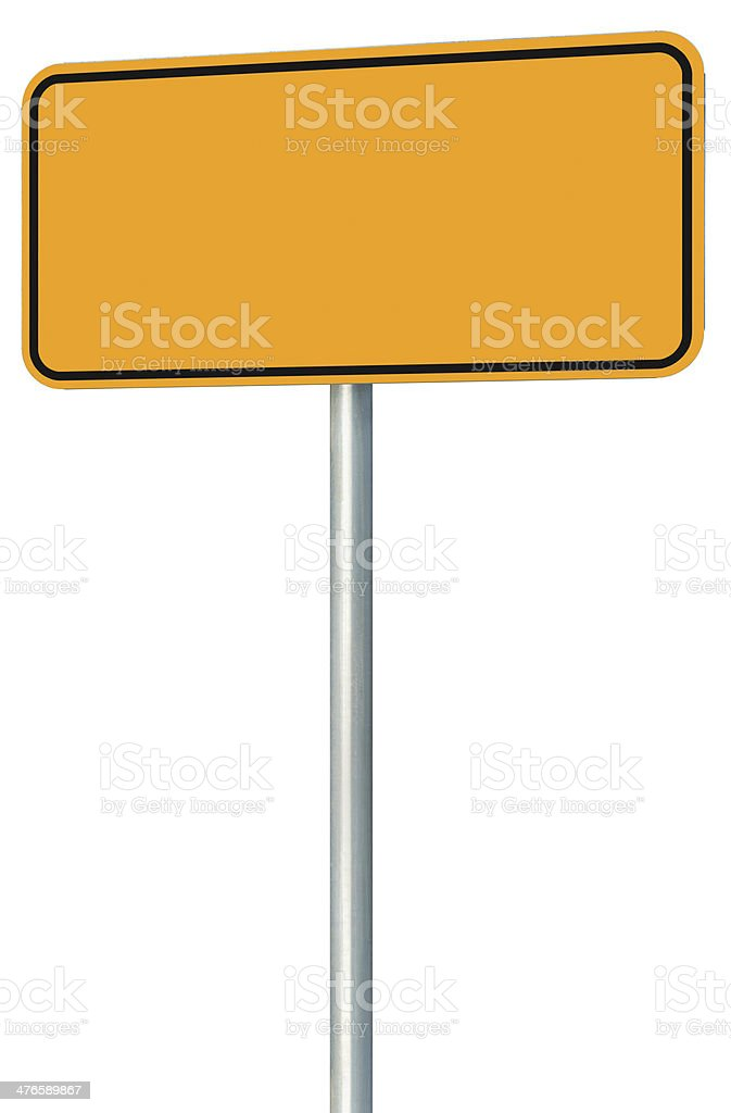Blank Yellow Road Sign Isolated, Large Perspective Warning Copy Space royalty-free stock photo