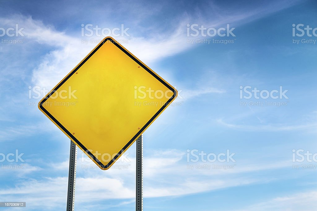 Blank, Yellow Road Warning Sign stock photo