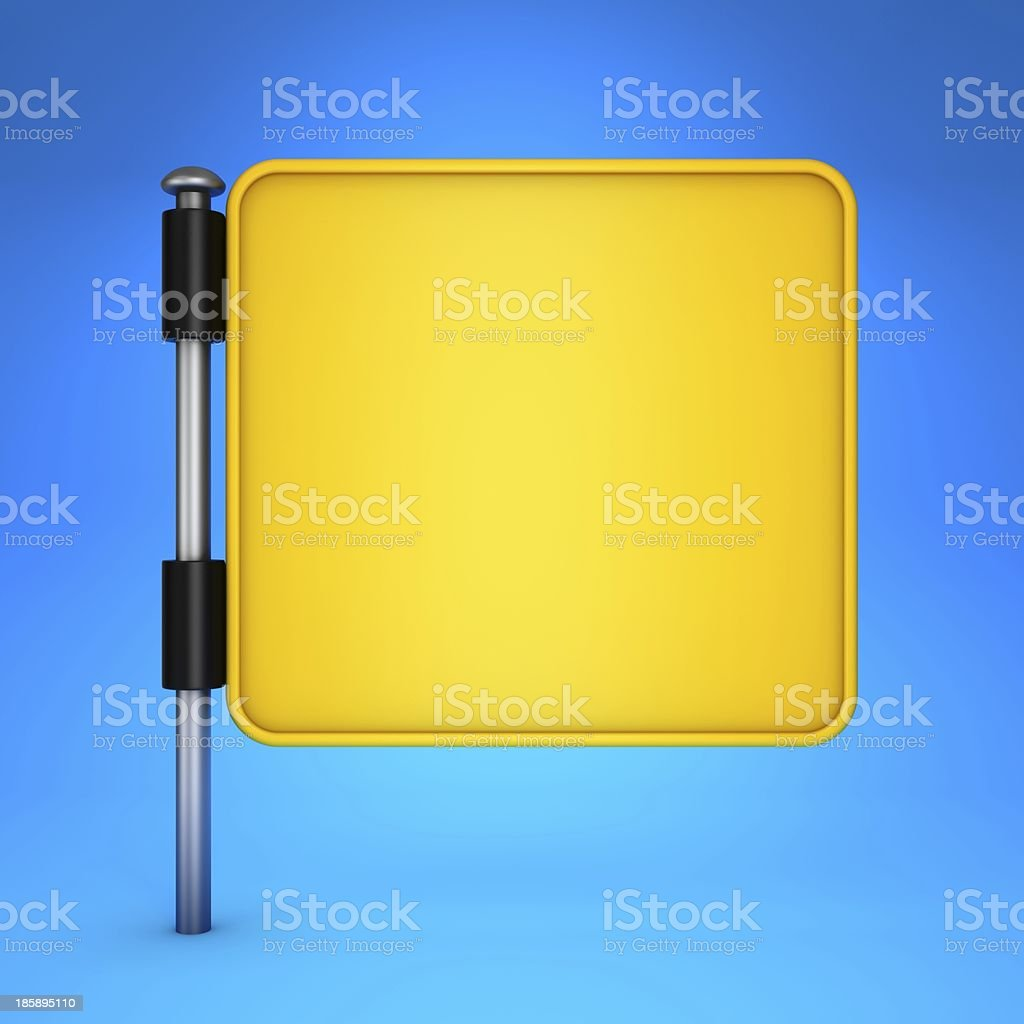 Blank Yellow Square Display on Blue Background. royalty-free stock photo