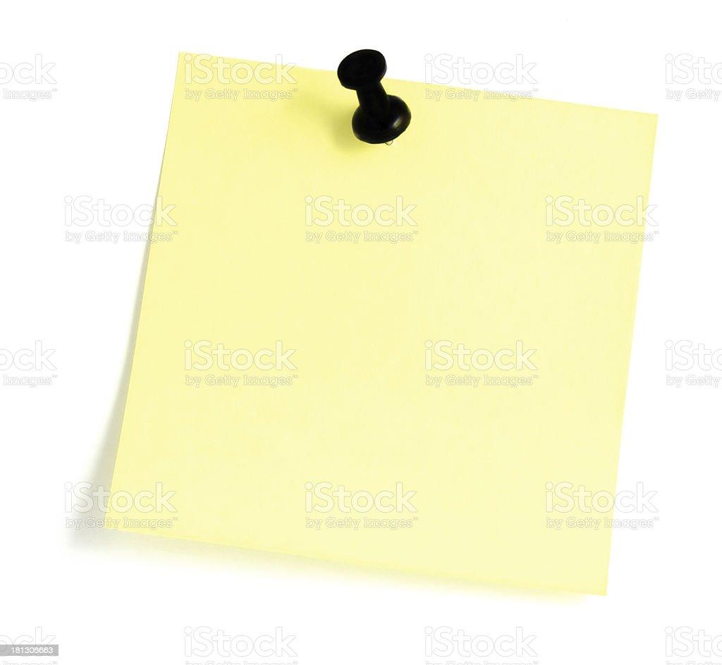 Blank Yellow Sticky Note Black Pushpin Post-It Isolated Sticker closeup stock photo