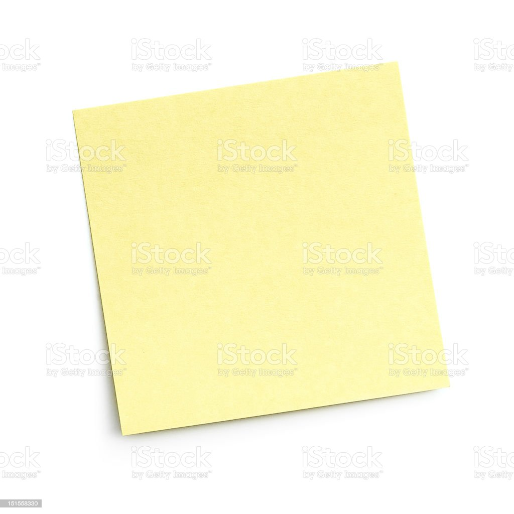 Blank yellow sticky note on white background stock photo