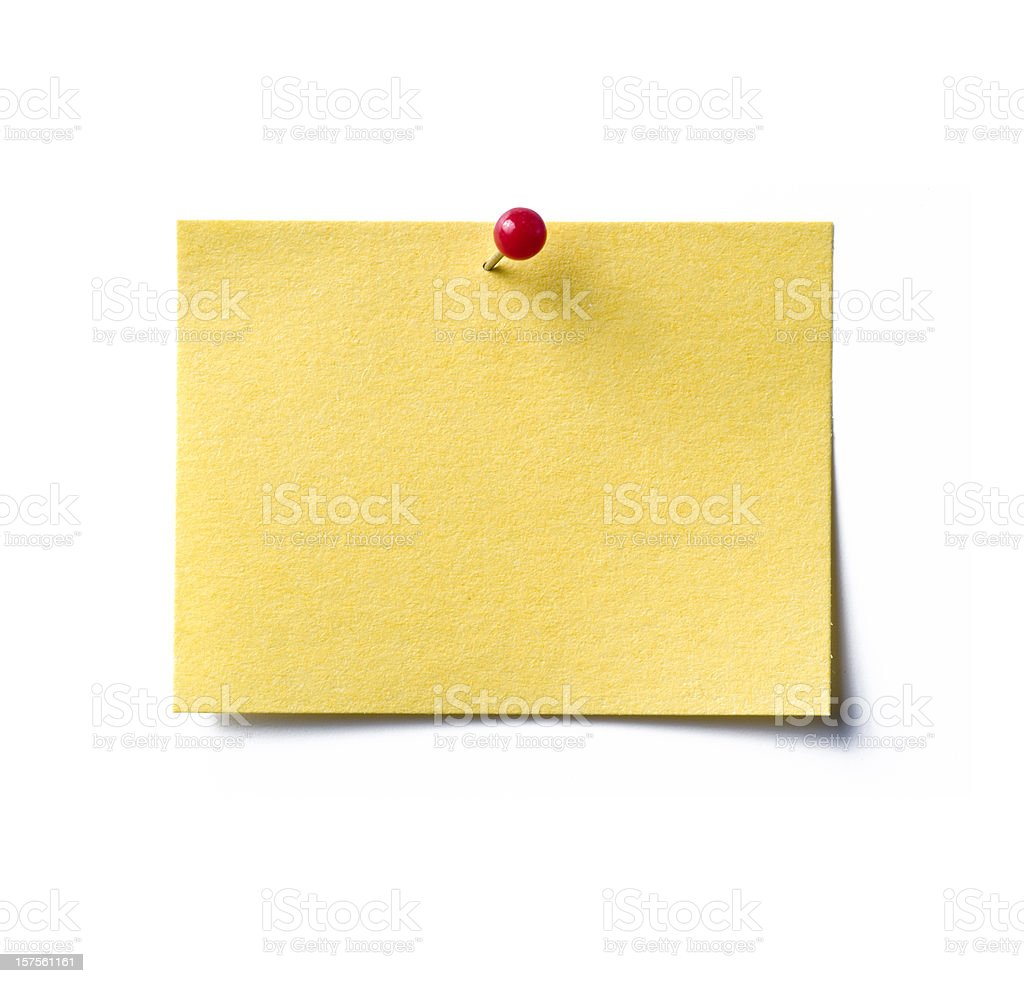 A blank yellow sticky note with a red pin holding it down royalty-free stock photo