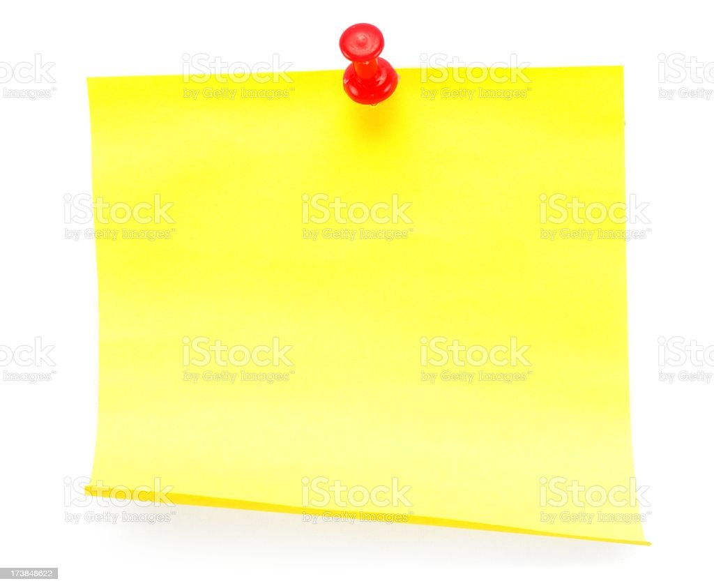 blank yellow sticky note with red needle isolated royalty-free stock photo