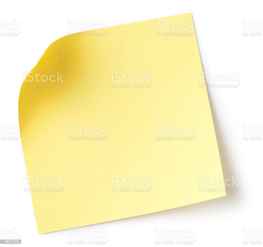 Blank yellow sticky note with white background stock photo