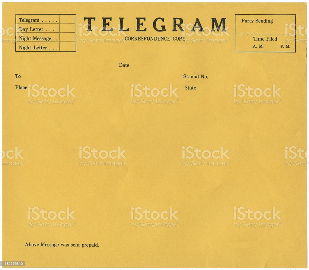 Blank yellow telegram background template stock photo